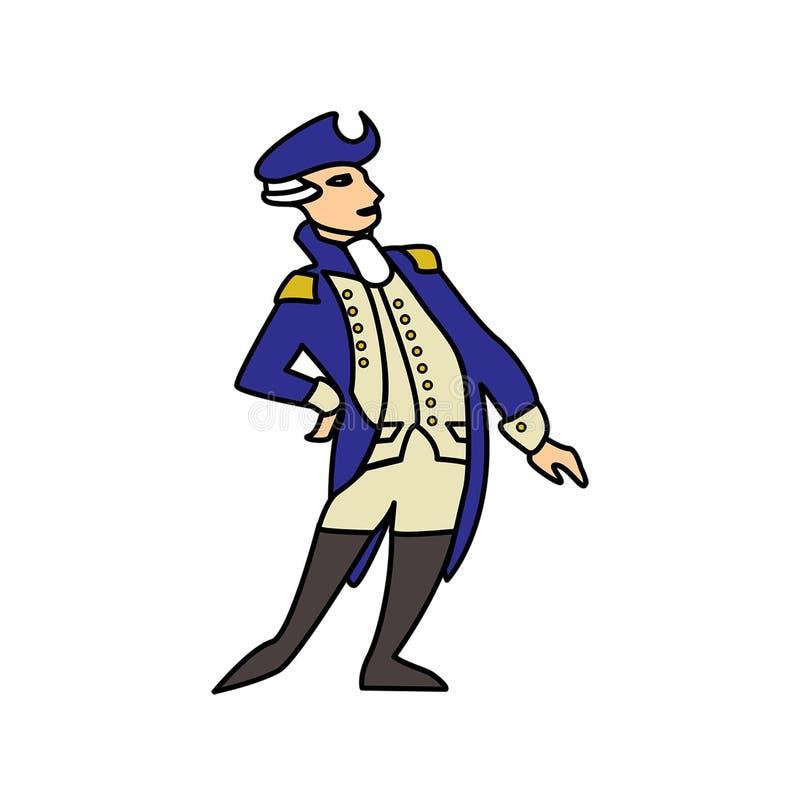 Amerikansk revolutionär soldat i blå likformig royaltyfri illustrationer