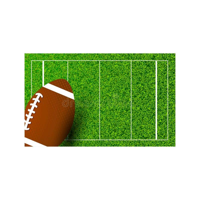 Amerikansk rugby på fält av stadion också vektor för coreldrawillustration royaltyfri illustrationer