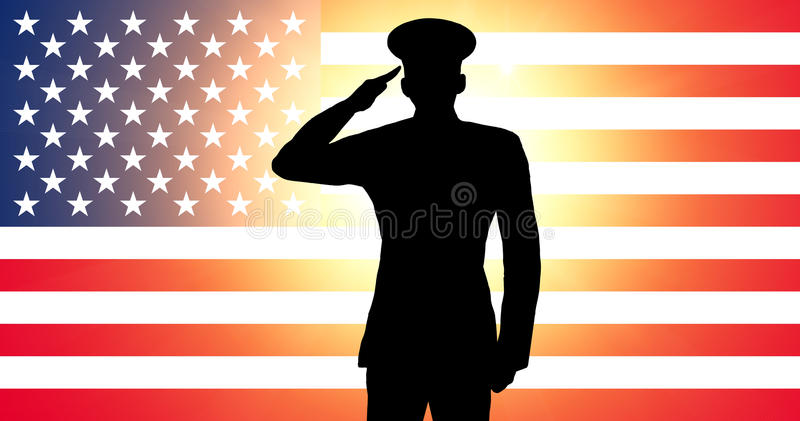 amerikansk salutera soldat royaltyfri illustrationer