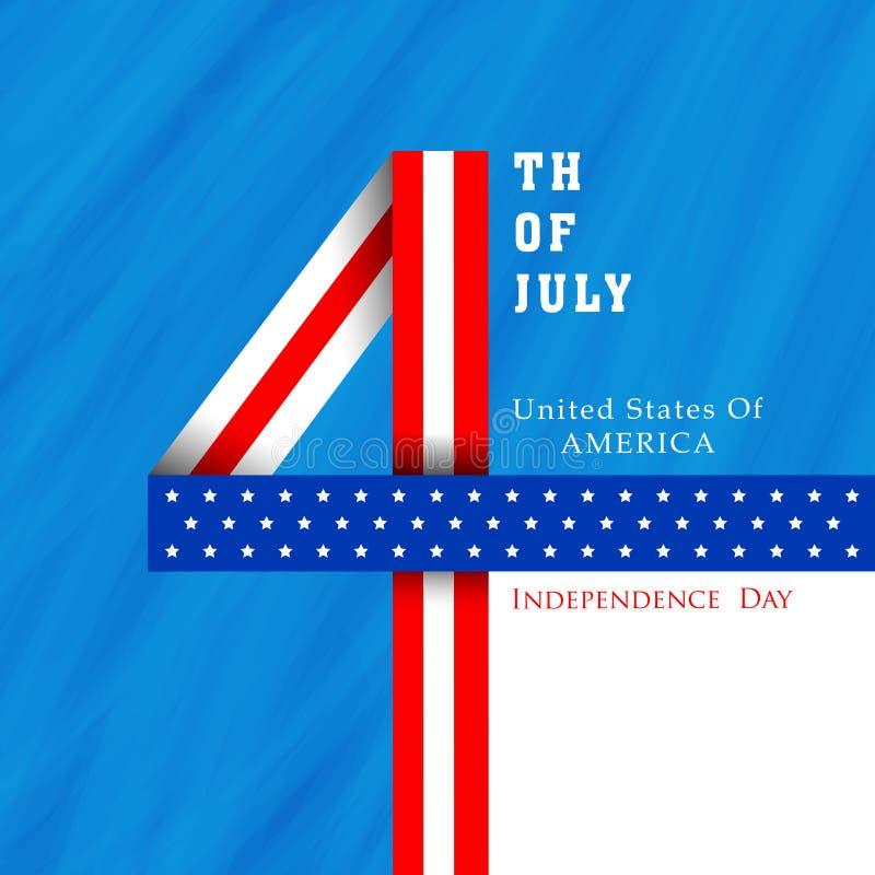Amerikansk självständighetsdagenberöm med stilfull text royaltyfri illustrationer