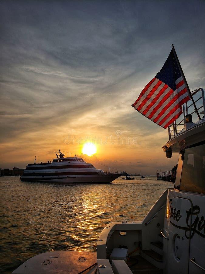 Amerikansk solnedg?ng arkivbilder