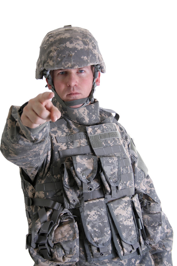 amerikansk strid som pekar soldaten arkivbild