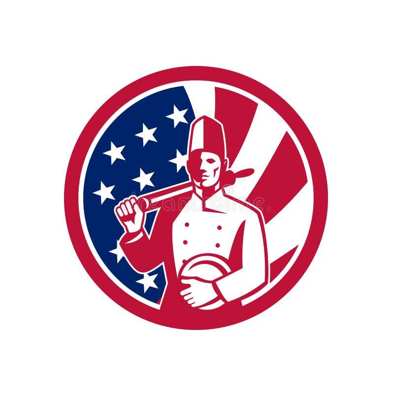 Amerikansk symbol för bagareUSA flagga royaltyfri illustrationer
