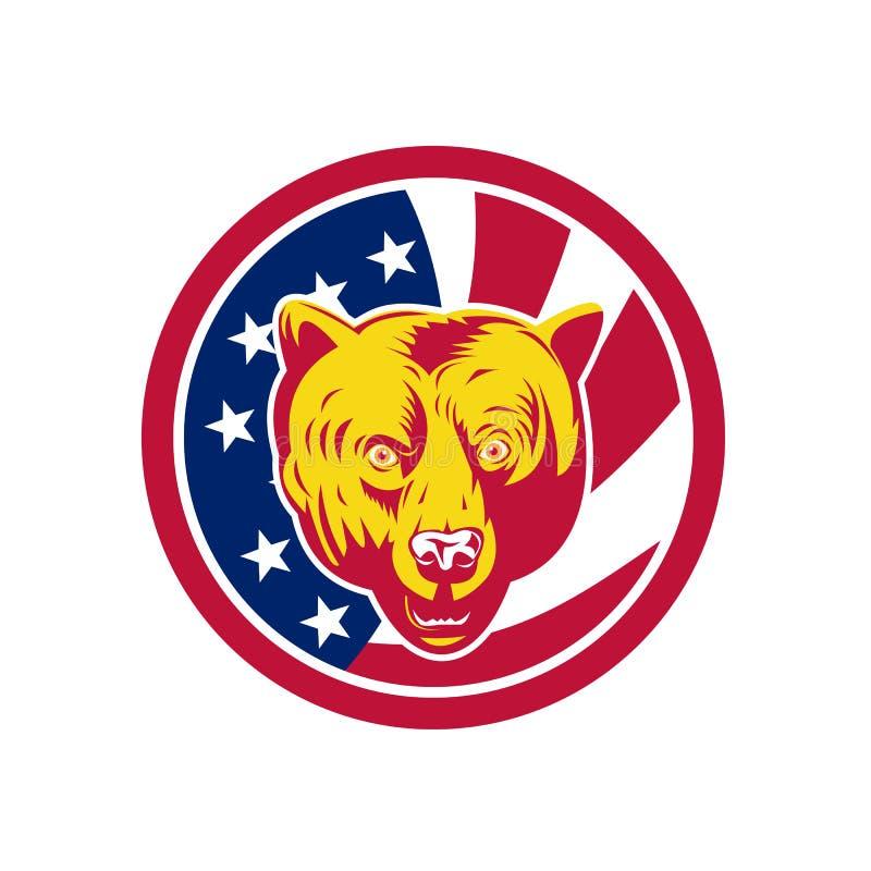 Amerikansk symbol för brunbjörnUSA flagga stock illustrationer