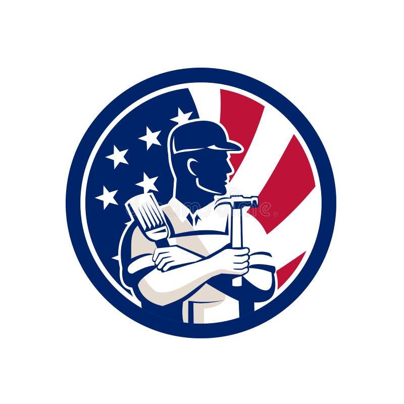 Amerikansk symbol för DIY-expertUSA flagga royaltyfri illustrationer