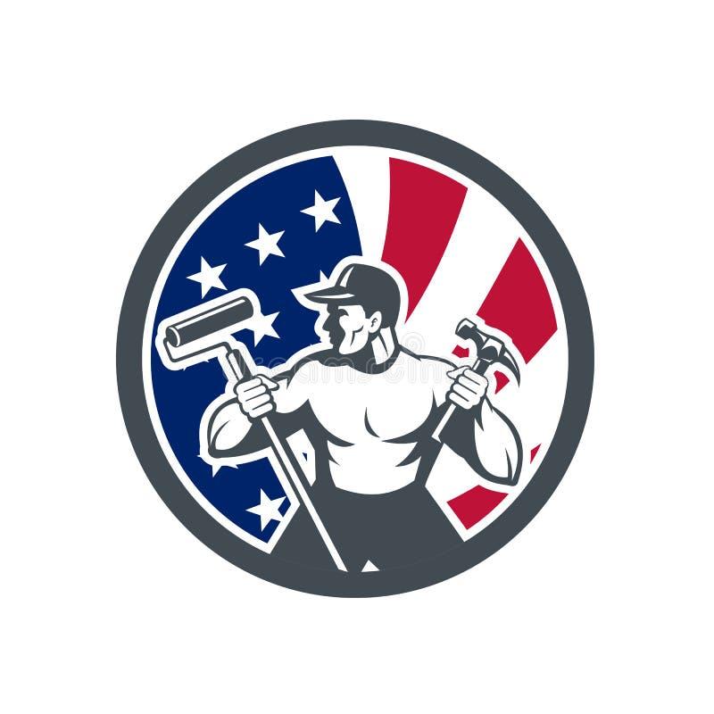 Amerikansk symbol för faktotumUSA flagga royaltyfri illustrationer