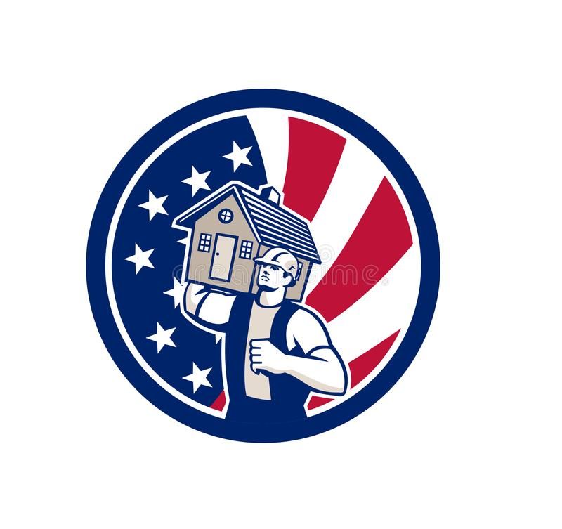 Amerikansk symbol för husborttagningsUSA flagga vektor illustrationer