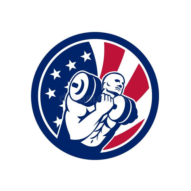 Amerikansk symbol för idrottshallströmkretsUSA flagga stock illustrationer