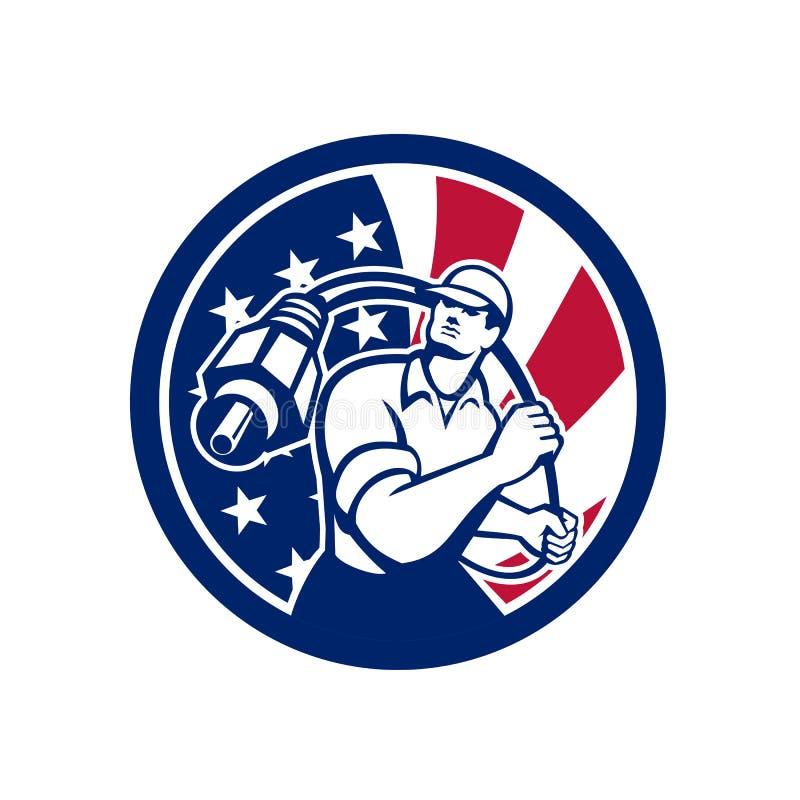 Amerikansk symbol för kabelmontörUSA flagga stock illustrationer