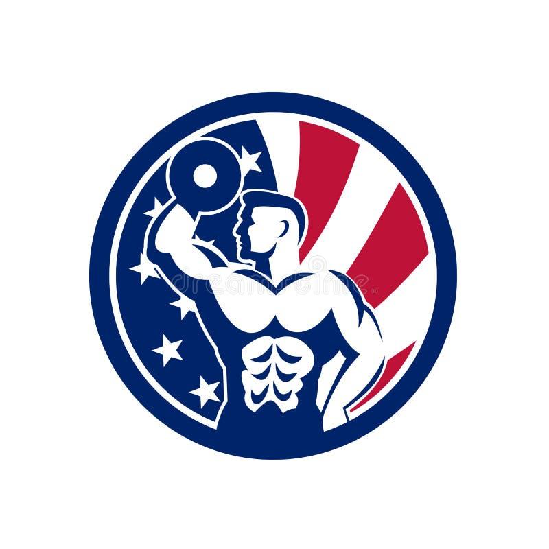 Amerikansk symbol för konditionidrottshallUSA flagga royaltyfri illustrationer