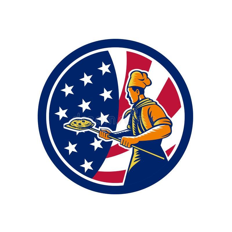 Amerikansk symbol för pizzabagareUSA flagga royaltyfri illustrationer
