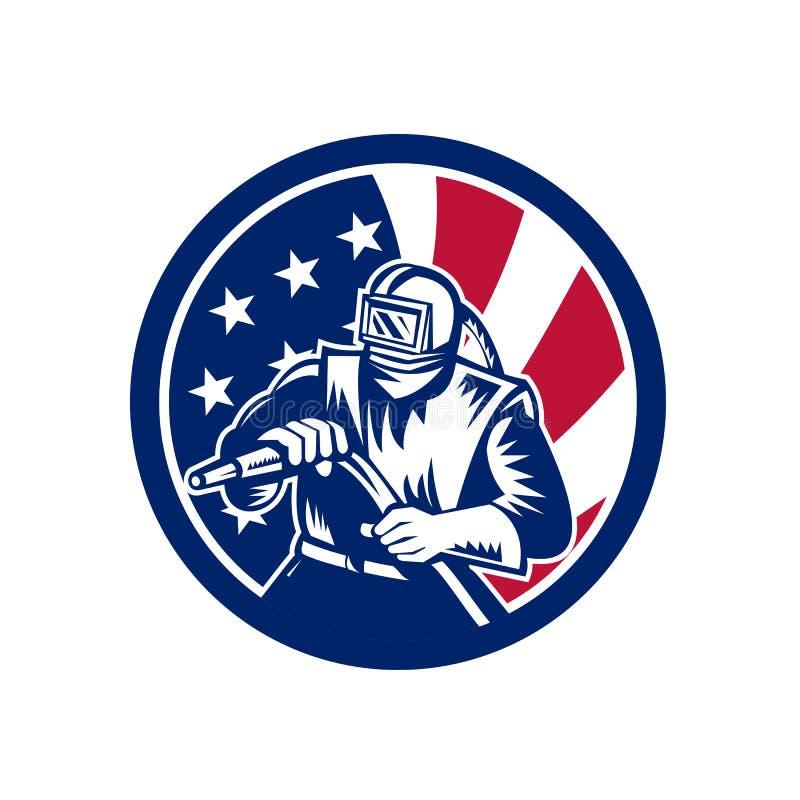Amerikansk symbol för SandblasterUSA flagga vektor illustrationer
