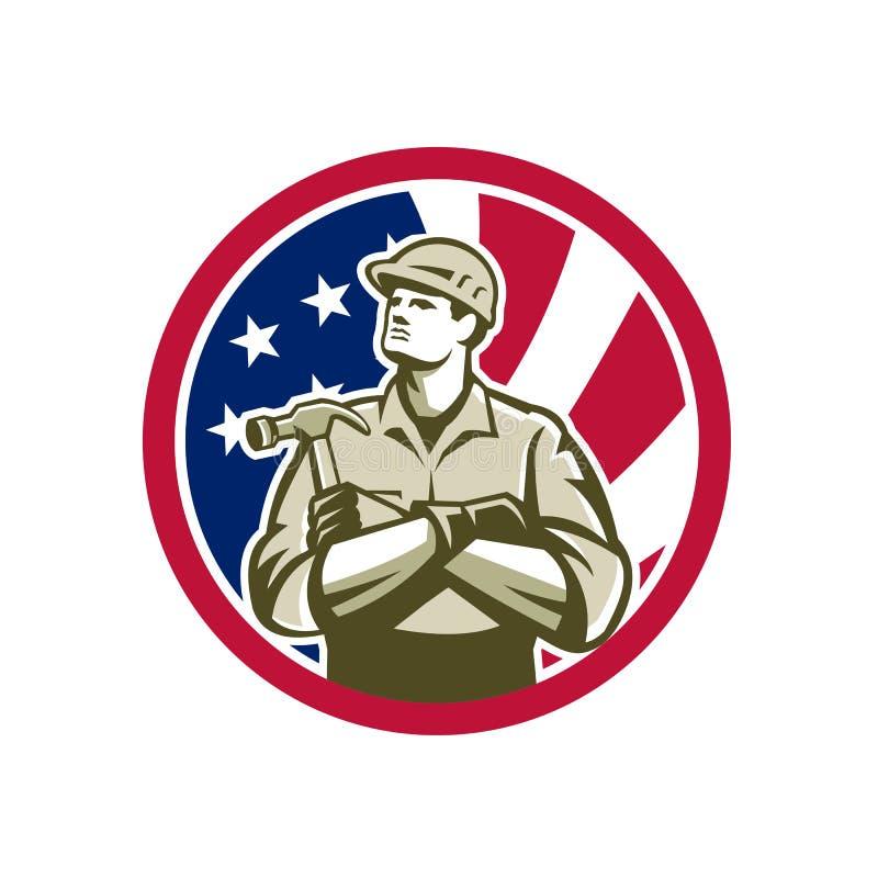Amerikansk symbol för snickareUSA flagga stock illustrationer