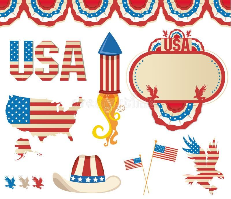 amerikansk symbolics vektor illustrationer