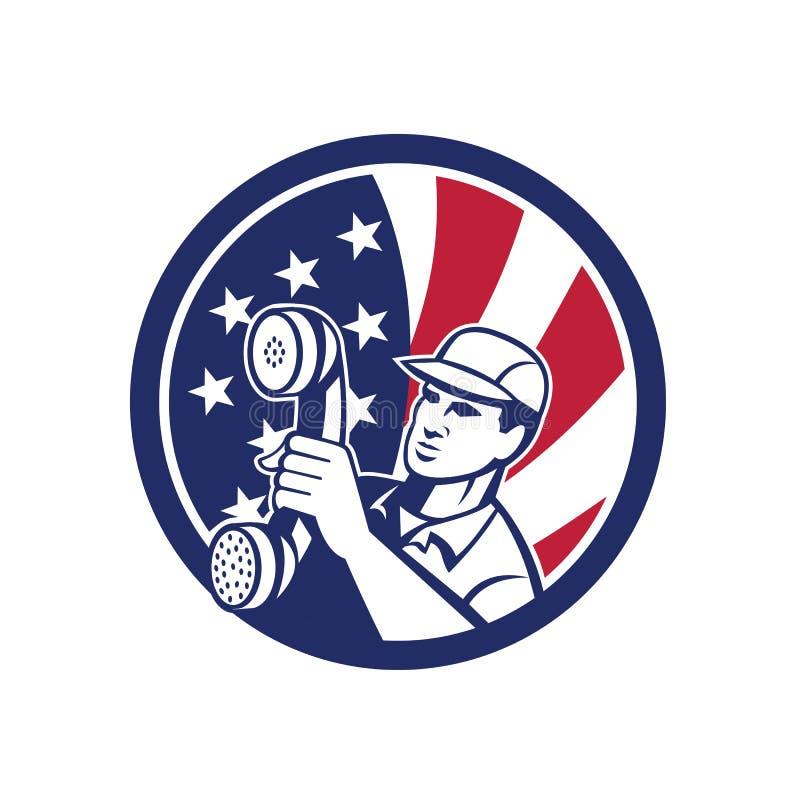 Amerikansk tekniker för telefoninstallationsreparation Icon royaltyfri illustrationer