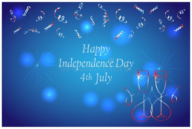 Amerikansk th juli för självständighetsdagen 4 Fyrverkeri- och Champagneexponeringsglas Abstrakt feriebakgrund Symbol av beröm Ve vektor illustrationer