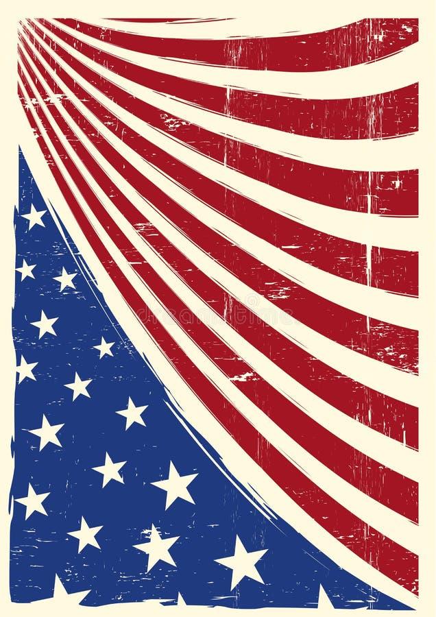 Amerikansk trevlig grungeflagga vektor illustrationer