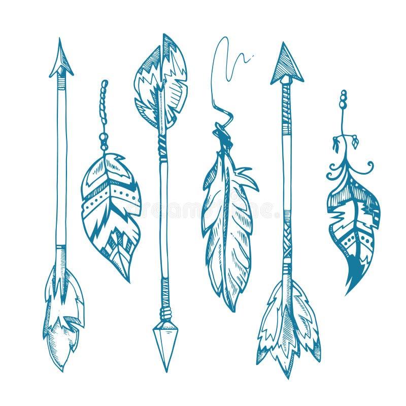 Amerikansk uppsättning för vektor för indierfjäderpilar, gammal stam- fjäderhipstergarnering royaltyfri illustrationer