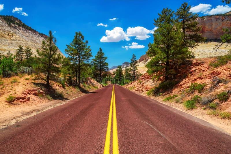 Amerikansk väg i Zion Canyon National Park, Utah royaltyfri foto