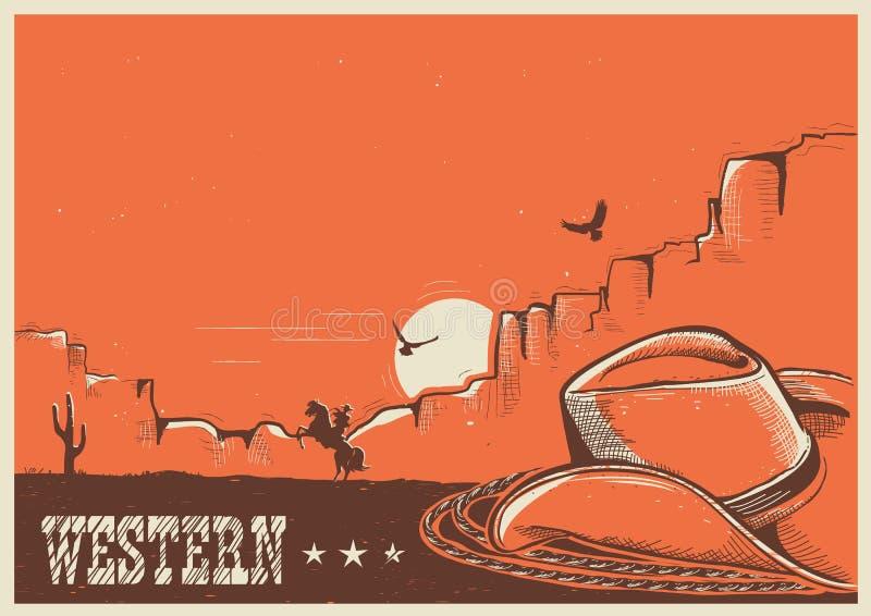 Amerikansk västra affisch med den cowboyhatten och lasson stock illustrationer