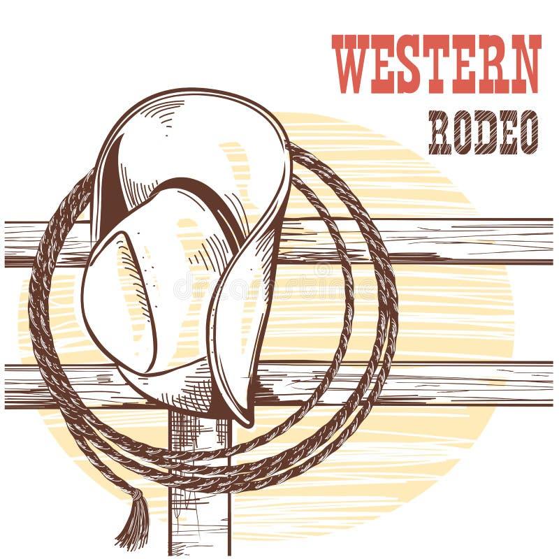 Amerikansk västra cowboyhatt och lasso på det wood staketet Rodeoillustrat royaltyfri illustrationer