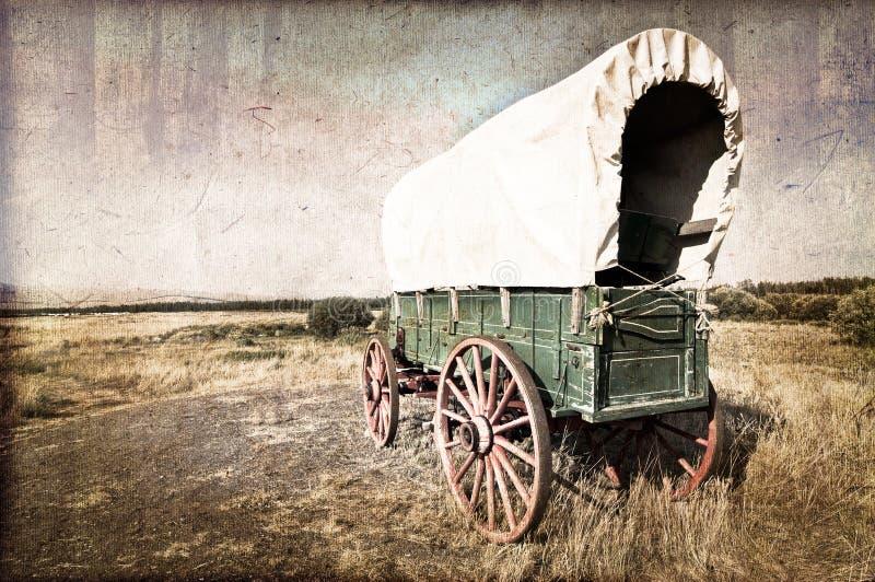 Amerikansk västra vagn för tappning arkivbild