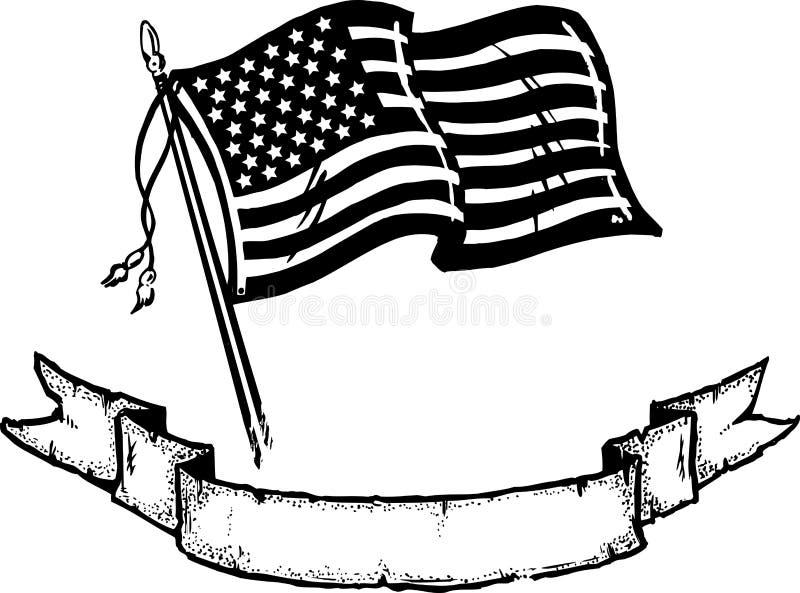 amerikansk vektor för banerflaggaillustration stock illustrationer