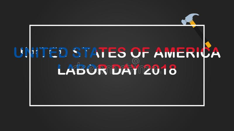 Amerikansk vektorillustration för arbets- dag Kortdesign för arbets- dag, försäljning vektor illustrationer
