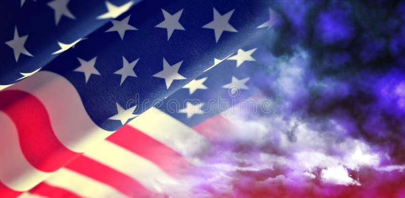 Amerikansk vinkande flagga arkivbild