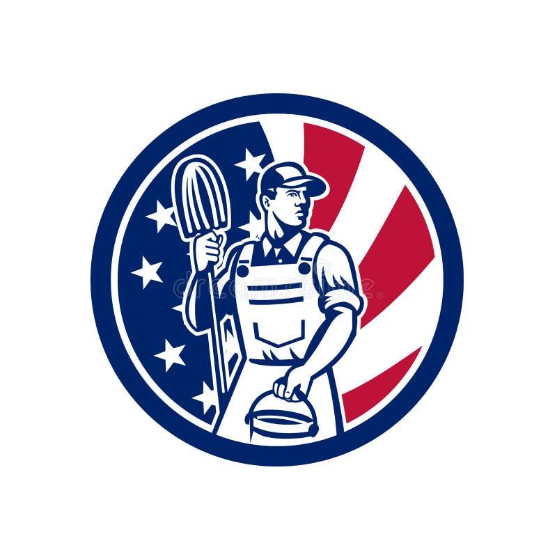 Amerikansk yrkesmässig symbol för rengöringsmedelUSA flagga stock illustrationer