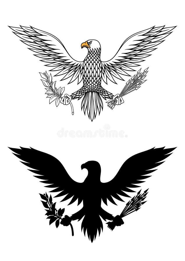 Amerikanska örninnehavfilial och pilar royaltyfri illustrationer