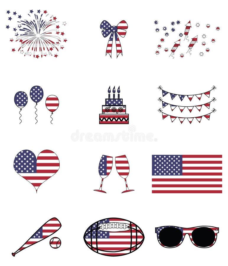 Amerikanska beröm och symboler stock illustrationer