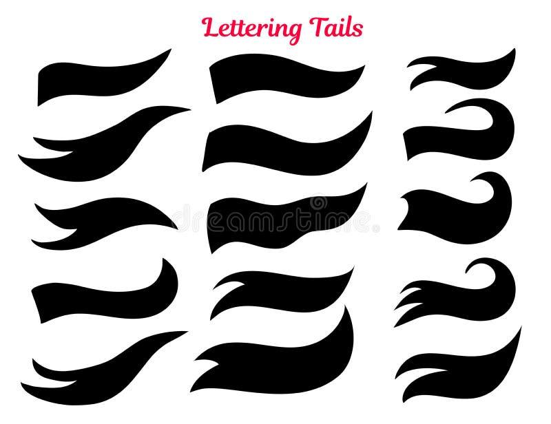 Amerikanska beståndsdelar för typografi för högskolasvansswooshes för retro design vektor illustrationer