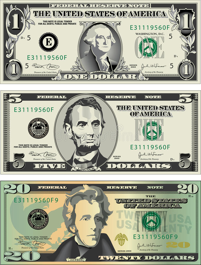 amerikanska bills stock illustrationer