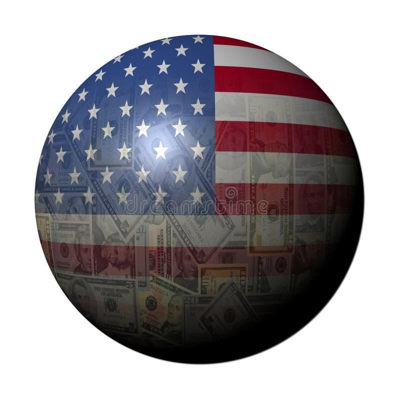 amerikanska dollar flaggasphere stock illustrationer