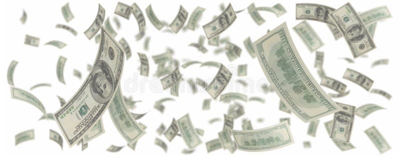 amerikanska dollar hundra ett regn stock illustrationer