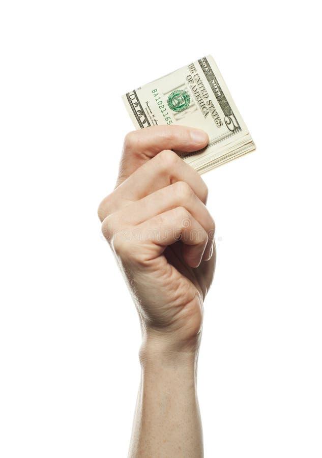 5 amerikanska dollar i hand på vit bakgrund, affär och finansiellt begrepp royaltyfri bild