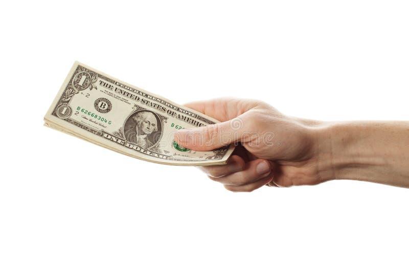 Amerikanska dollar i handen som isoleras på vit bakgrund En valuta för pengar för dollaranmärkningskassa arkivfoto