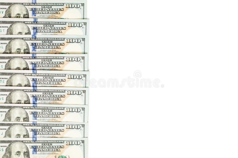 Amerikanska dollar 100 isolerad sedelgräns arkivbild