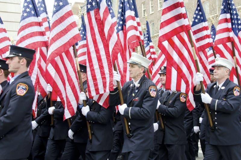 343 amerikanska flaggan arkivfoton