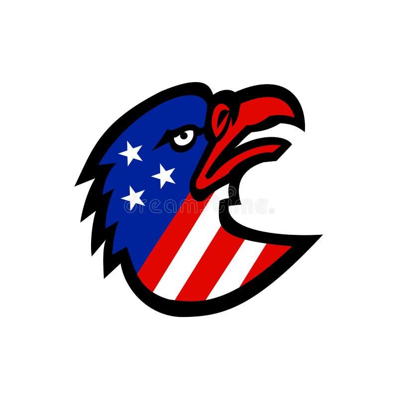 Amerikanska flaggan inom Eagle Mascot stock illustrationer