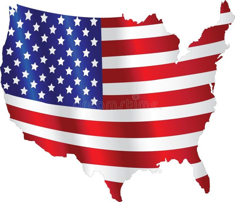 Amerikanska flaggan med en översikt royaltyfri illustrationer