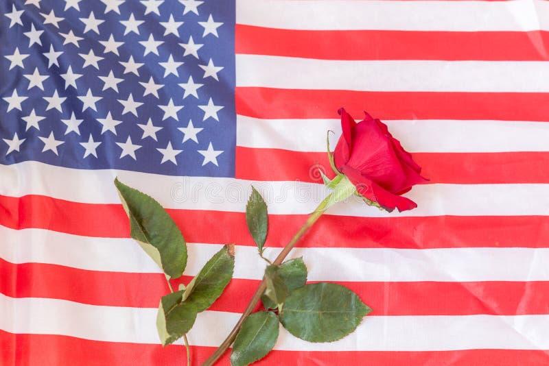 Amerikanska flaggan med en ros som hedrar de som har offrat deras liv arkivfoton
