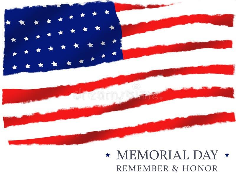 Amerikanska flaggan Memorial Day minns och hedrar stock illustrationer