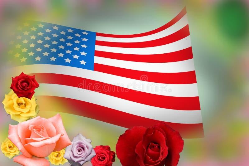 Amerikanska flaggan och steg arkivfoton