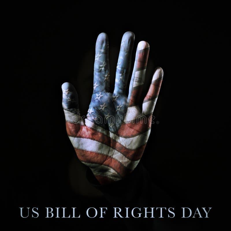 Amerikanska flaggan- och textUSA-räkning av rättdagen arkivbild