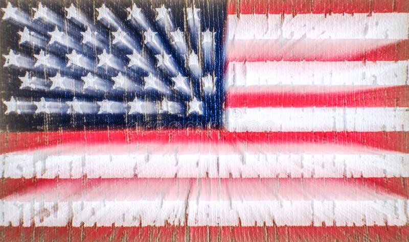 Amerikanska flaggan på enskjorta av oss armésoldat Zoom på lång exponering Selektivt fokusera royaltyfri illustrationer