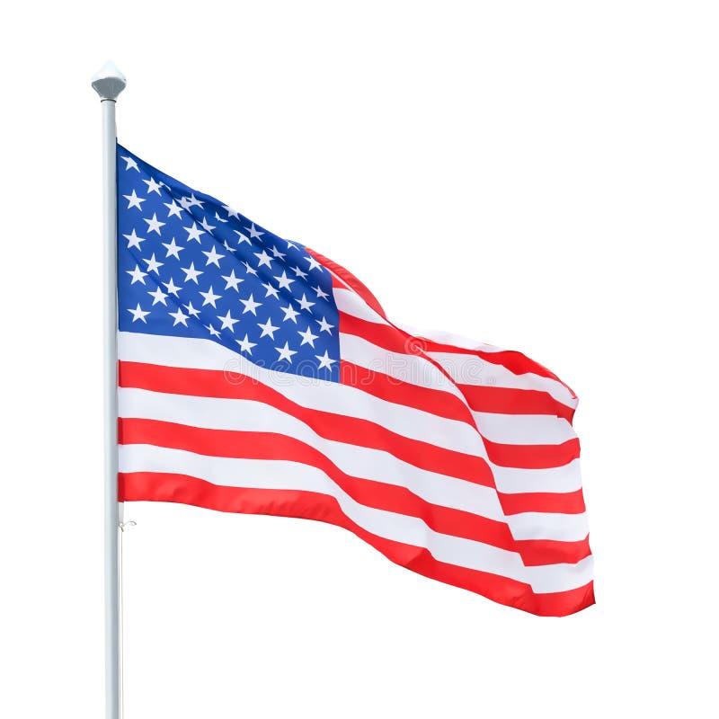 Amerikanska flaggan på flaggstången som isoleras med urklippbanan arkivbild