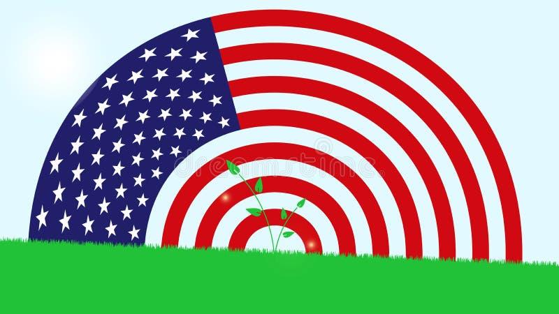 Amerikanska flaggan på gröna gras stock illustrationer