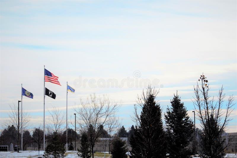 Amerikanska flaggan på Julius M Minnes- Kleiner parkerar i Boise Idaho fotografering för bildbyråer